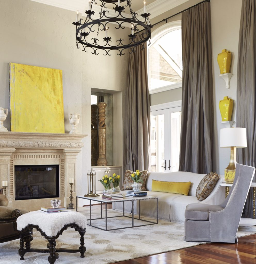 janie molster designs, yellow, neutral, living room, iron chandelier, richmond designers